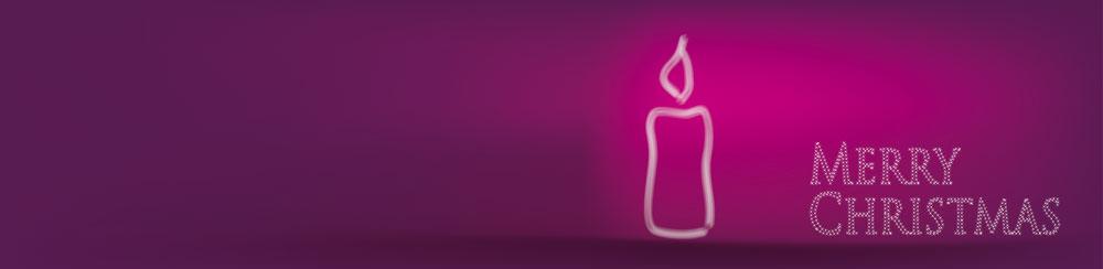 Weihnachtskarte-lila-Kerze