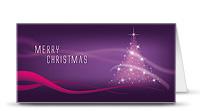 Weihnachtskarte lila Baum - quer